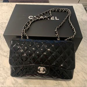 Chanel Black Jumbo Classic Flap Handbag Purse